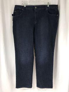 New Bandolino Plus Size 22W x 32 Samantha Straight Leg Stretch Blue Jeans $52 #Bandolino #StraightLeg