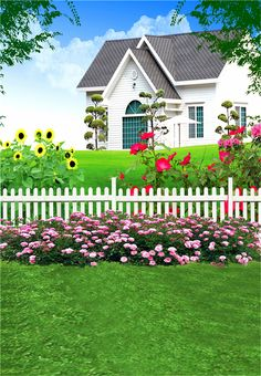 Villa Garden Photography Backdrops Vinyl 5x7ft or 3x5ft Baby Green Grass Background Photo Studio Props JIEGQ03