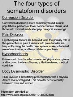 Psychology : Four Types of Somatoform Disorders Abnormal Psychology, Psychology Disorders, Forensic Psychology, Mental Disorders, Psychology Facts, Mental Health Nursing, Mental Health Awareness, Ptsd Awareness, Nursing Tips