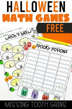 Free Halloween math games are here! Your first and second grade students will love these independent and partner games to build their addition, subtraction, and number sense skills with a spooky theme! These are great for early finishers, independent work, math centers, and more! #halloweenmathgames