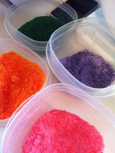 Homemade Edible Glitter: Place sugar into small bowl; add food coloring of your choice (AmeriGels are my favorite!); mix well; spread onto foil-lined baking sheet; bake @ 270 for 5 minutes. The sugar will harden - don't worry, it crumbles apart easily!