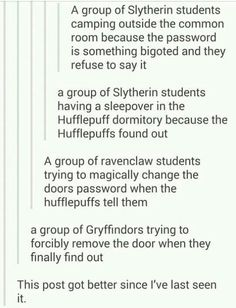 Hufflepuff Ravenclaw and Gryffindor helping out the Slytherins Drarry, Harry Potter Jokes, Harry Potter Fandom, Sassy Harry Potter, Fandoms, Joanne K Rowling, Geeks, Jacques A Dit, Scorpius And Rose