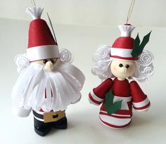 Claus Couple Paper Quilled Ornament Set by WintergreenDesign
