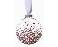 Multicolored Confetti Glass Painted Ball Ornament Idea with FolkArt paints idea for Christmas Ornaments