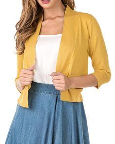 70fbd5d7af Nolabel Women s 3 4 Sleeve Cropped Open Front Draped Shawl Collar Bolero Cardigan  Jacket (Plus Size) at Amazon Women s Clothing store