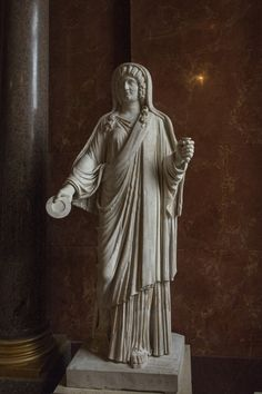The Severans - IV : The empress Julia Domna | Julia Domna (Iulia Domna; Emesa (Homs, Syria), c. 170 – 217 AD). Wife of Septimius Severus. This size-life statue shows the empress Julia Domna portrayed as priestess of the Goddess Isis. Roman marble portrait About 193 – 211 AD Paris, Musée du Louvre