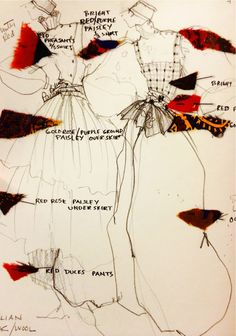 Perry Ellis Sketch and fabric swatches by Jed Krascella for Fall/Winter 1981