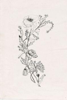 Upper arm floral tattoo