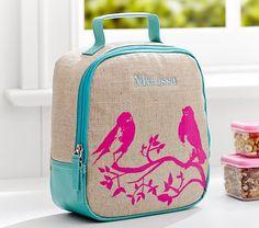 Riley Teal Bird Lunch Bag | Pottery Barn Kids