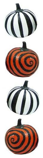 Artificial decorated pumpkins from Target.  OMG!  How perfectly Burton-esque are these?  Yep, I bought them all. Halloween with Tim Burton ~~ Halloween Party Decorations & Ideas