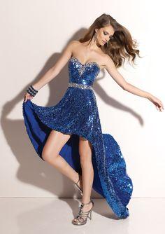 dark blue sequin prom dress