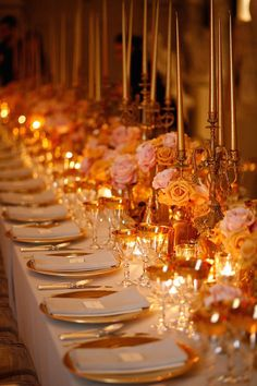 Photo: Belathee Photography; Gold is the color that works well in decor at any season of the year. But for fall weddings, warm gold, candle light, and hints of orange are perfect details.