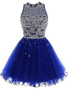 e2b7fefb3e Women s Short A-Line Tulle Beading Homecoming Party Dress Prom Gown Royal  Blue