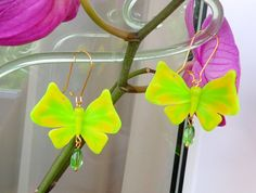 earrings  butterflies neon green romantic style bright butterflies summer butterfly summer jewelry polymer clay fashion 2015 gift for her
