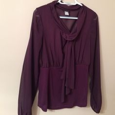 Venus dress shirt Purple dress shirt. Back is sheer. Front is lined. I love it but it's too big for me. Venus Tops Blouses