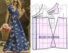 Красивое платье Расход ткани при шир.1,5- 2м 60 см WRAP MAXI