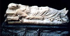 """The """"Cristo Velato"""": a marble masterpiece made in 1734 by Giuseppe Sanmartino (Naples, IT, Sanseverino Chapel). It's simply stunning the """"transparency effect"""" of the shroud. In fact, it has given rise to a legend that the Prince Sanseverino, who was a famous scientist and alchemist, would teach the sculptor the tissue calcification in marble crystals."""