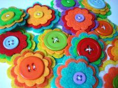 Set of 10 pcs handmade felt button - Tropical MIX  (BU)
