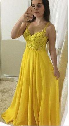 69ae6bd13ed1e0 Yellow Lace Appliques Chiffon Prom Dresses Long Sexy Illusion Formal A Line  Gele Kanten Jurken