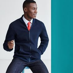 There's something about navy - classically impressive, whether zipped up or buttoned down.