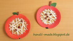 handii made: Äpfel aus Papptellern mit Fadentechnik