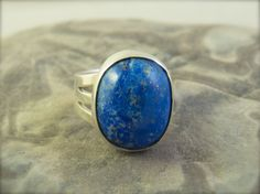Blue Lapis Ring Galaxy Sterling Silver by AnUnfamiliarRing Blue Rings, Lapis Lazuli, Statement Rings, Sterling Silver Jewelry, Gemstone Rings, Unique Jewelry, Handmade, Etsy, Finger