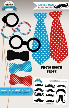 Little Man Photo Booth Props - Little Man Personalized printables will save you time and money while making your planning a snap!
