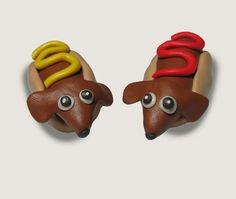 Mustard & Ketchup Hot Dog Dachshund Sculpture by TNZsculptures