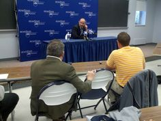 Penn State Football coach Bill O'Brien speaks at a press conference at Penn State Hazleton Campus