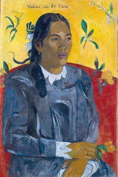 Paul Gauguin, Tahiti Woman with a Flower, 1891 on ArtStack #paul-gauguin #art