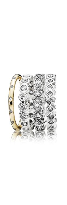 Amazing ring stack in gold and silver with sparkling stones. #PANDORA #PANDORAring #Spring2015