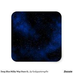 Deep Blue Milky Way Stars Galaxy Solar System Square Sticker