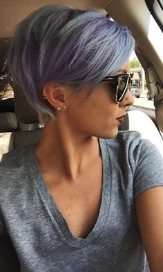 pixie cut, grey purple , hair goals, ear piercings