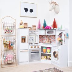 Bight pops of color for a play kitchen Big Girl Bedrooms, Girls Bedroom, Little Girls Playroom, Baby Couch, Toy Rooms, Kids Rooms, Baby Room Decor, Fashion Room, Kid Spaces