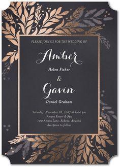 Brilliant Sprigs - Signature Foil Wedding Invitations - Petite Alma - Flint - Gray : Front