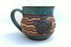 SEA TURTLE Swimming in the Waves Mug Hand Carved by KittingerClay