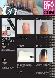Step-by-step ombre nail art. #beautysouthafrica #ombre #nails #nailsinc #tiptop