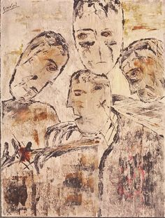 The disbelief of Thomas (series of classics)  Quartz sand, ink on shimmed paper, 1998, 77x57 cm