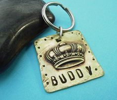 King or Queen Puppy Dog or Cat Pet Id Tag in antiqued brass & personalized, $16.95