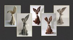 2 x needle felt hare kits, choose from ; 1 white, 2 grey 3 dark brown 4 light brown 5 light grey . Please message me with colours required when buying.