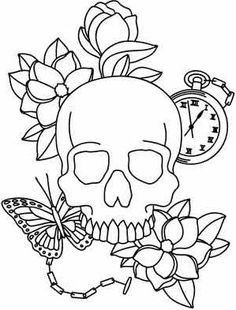 Paper Embroidery Patterns A beautiful collage of life and death. Use pattern transfer paper to trace design for hand-stitching. Paper Embroidery, Learn Embroidery, Embroidery Patterns, Skull Coloring Pages, Coloring Book Pages, Easy Drawings, Tattoo Drawings, Tattoo Outline Drawing, Dibujos Zentangle Art