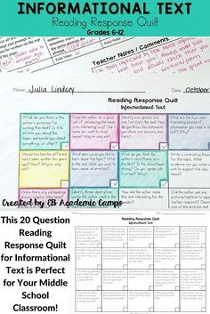 Text Choice Board Use this great Reading Response Quilt to help your students closely analyze Informational Texts!Use this great Reading Response Quilt to help your students closely analyze Informational Texts! Middle School Writing, Middle School English, Middle School Classroom, High School, Reading Response Activities, Reading Strategies, Teaching Reading, Reading Comprehension, 8th Grade Ela