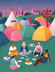 Overnight Summer Camping - - Camping Food No Cooler - Camping Art Simple - Camping Recipes Sausage - Aesthetic Camping Pictures Night Illustration, Family Illustration, People Illustration, Illustrations, Character Illustration, Camping Signs, Camping Theme, Camping Ideas, Camping Snacks