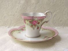 R S Prussia Demi Tasse Cup Tea Cup Matching Saucer Floral Signed Red Wreath