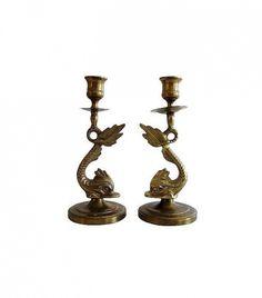 Chairish Brass Koi Candlesticks