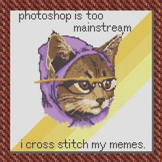 HIPSTER KITTY Complete Cross Stitch Kit