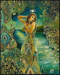 """""""Selene ~ The Greek Moon Goddess"""" by Emily Balivet, Art - Goddesses, Muses & Spiritual Art Goddess Art, Moon Goddess, Goddess Tattoo, Sacred Feminine, Pics Art, Gods And Goddesses, Portfolio, Boho Gypsy, Wicca"""