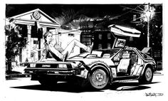 Delorean pinup by seangordonmurphy on DeviantArt