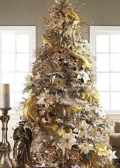 gold christmas tree christmas tree decorations xmas tree beautiful christmas - Silver And Gold Christmas Tree Decorations