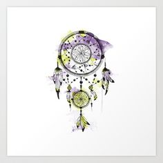 Dreamcatcher/Purple Art Print by Klaff Design - $20.00